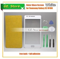 White Galaxy S2 LCD replacement Touch Outer top Glass Lens Screen For Samsung Galaxy SII i9100 Freeshipping+Tools+Adhesive