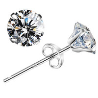 925 Sterling Silver with Platinum Plated Wholesale China Fashion Jewelry Zircon Earrings Stud 925-YLHE017