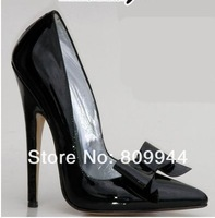 Gray color bow pointed high-heeled shoes 13CM sexy high-heeled pumps superfine large size shoes [59]
