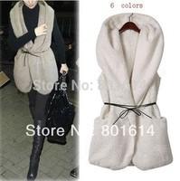 Vest + Belt  Fashion Women's Oversized Thick Faux Fur Sheepskin Hollywood Hooded Vintage Coat