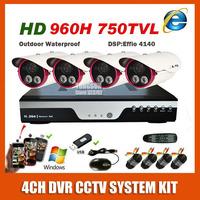 2014 Best 4CH CCTV Camera System Kit Sony 960H Effio 750TVL Array Night Vision Outdoor Waterproof Video Surveillance System