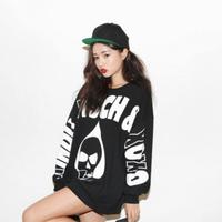 2014 stylenanda xoxo skull print thickening loose fleece female sweatshirt Free SHipping