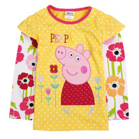 2014  new long-sleeve peppa pig  children t shirts 100% cotton  girl t shirt