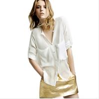 Women Chiffon Shirt New 2014 Spring Summer Fashion White/Black/Red/Beige Large Pocket Chiffon Blouses Shirts For Office Lady