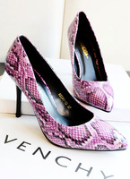 Single shoes women's shoes fashion personality serpentine pattern pointed toe shallow mouth high-heeled shoes thin heels ol