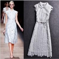 Top grade 2014 Spring Fashion Women's Cutout Flower Lace Elegant White black Dress Sleeveless Luxury Brand Catwalk Dresses