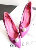 Single shoes female high-heeled shoes fashion pointed toe fashion shallow mouth satin fabric rhinestone ball solid color