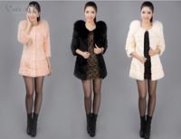 EMS Free Shipping 100% Real Genuine Natural Fox Fur Collar Whole Rabbit Fur Long Coat Jacket Outwear Garment Women PC100