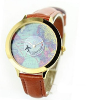Mini world new 2014 brand fashion watch map airplane travel around the world polymer clay leather strap women dress watch