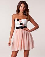 Free Shipping Elegant Evening Dress 2014 New Arrival Women Sweetheart Sleeveless 3d Flower Chiffon Party Gown  Prom Dress