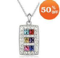 6 colors white gold plated rhinestone crystal fashion pendant necklace jewelry for women 31Z41