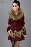 EMS Free Shipping 100% Real Genuine Natural Raccoon Fur Collar Luxury Rabbit Fur Long Coat Jacket Overcoat Outwear Garment PC96