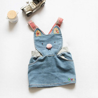 Retail kids girls dress 2014 new summer dress Hello Kitty children's clothing cartoon cute girl dress cat kid denim skirt