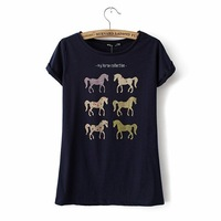 Free Shipping European style Shirt  Women's Fashion Pony printed cotton short-sleeved T-shirt
