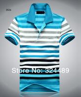 Lapel business casual men's short sleeve tide cotton stripe MAN loose big yards short sleeve T-shirt