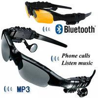 new 2014 Wireless Handsfree Bluetooth Headset Headphone Sunglass sun glasses MP3 Stereo motorcycle intercom free ship