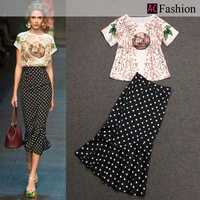 Women Batwing Sleeve Bust Tops Female Slim Hip Fish Tail Polka Dot Dress Runway Free Shipping 2014 New Spring Summer Fashion