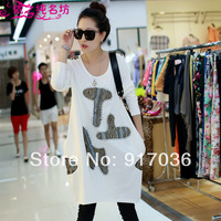 Big Discount High Quality Women's Long design  loose plus size casual basic shirt long-sleeve T-shirt spring 2014