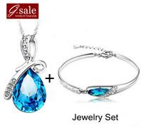 GS Brand Set-10 new 2014 Blue Angle Tear crystal/Zircon necklace &bracelet sterling silver jewelry fashion ladies'  jewelry sets