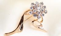 rhinestone brooch pin ,gold plating crystal brooch pin size 4.6*3.0cm , itemLX-1569