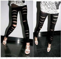 Faux leather matte personality hole ankle length trousers legging