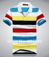 The new 2014 man short sleeve T-shirt men leisure stripe T-shirt lapel t-shirts men T-shirt