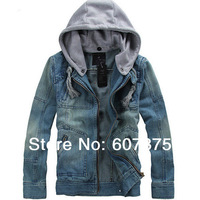 New 2014  Big Size tops cotton Sport Men's Hoodie Jeans Jacket coat outerwear hooded Winter coat denim jacket coat cowboy wear