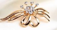 rhinestone brooch pin ,gold plating crystal brooch pin size5.5*3.0cm , item LX-1071