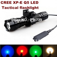 UltraFire 501B 1-Mode Cree Q5 Yellow/red/green/blue light CREE LED Flashlight Tactical light with tactical mounts/Remote switch