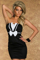 Free shipping + Lowest price New Sexy Charming Girl Bow Tube Fashion Dress