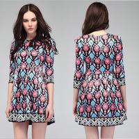 Spring New 2014 European Vintage Print Dresses Women's Runway Fashion Slim Digital Print Dress Catwalk Brand Dress
