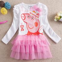 100% Cotton Peppa Pig Girl's Dress Baby Girls Long-Sleeve Dresses Children Fashion Clothing Kids Cartoon Wear Child Girl Cothes
