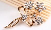 rhinestone brooch pin ,gold plating flower booch pin ,crystal brooch , item LX-1309