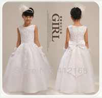 Brand Beading Bow Flower Girls Dresses For Weddings Kids Fantasy Prom Party dress Princess pageant 2014 Cocktail Christening