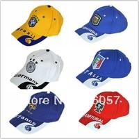 New arrival! 14 world cup Free shipping football fan visors/baseball caps with famous national teams' logo,football fan souvenir
