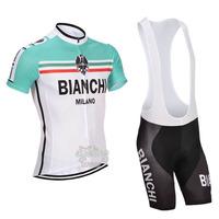 Free Shipping!MEN'S NEW Team Cycling Short Sleeve Jersey+BIB SHORTS Bike Clothes Bicycle Clothes 2014 BIANCHI  WHITE&GREEN SZ: