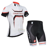 Free Shipping!MEN'S NEW Team Cycling Short Sleeve Jersey+SHORTS Bike Clothes Bicycle Clothes 2014 CASTE* RED&WHITE BLACK SZ: