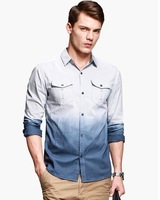 New 2014 spring Men's gradient color water-washed casual shirt blouse