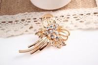 rhinestone brooch pin ,gold plating flower booch pin ,crystal brooch , item LX-1136