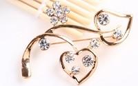 rhinestone brooch pin ,gold plating heart  booch pin ,crystal brooch , item  LX-1372