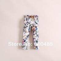 2014 spring Summer Children's fashion ink rendering large flower pants with belt 3colors 6pcs/lot