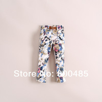 2014 spring Summer Children's fashion ink rendering large flower pants with belt 3colors 6pcs/lot