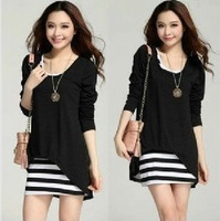 Free shipping fashion women's clothing cultivate one's temperament vest skirt show thin long-sleeved chiffon black white dress
