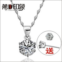 For nec  klace Women 925 pure silver necklace hearts and arrows pendant necklace birthday gift