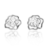 Accessories vintage cutout noble rose earrings in ear stud earring anti-allergic
