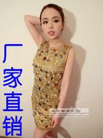 2013 xiaxin fashion rhinestone one-piece dress gold sleeveless tank dress one-piece dress slim tight hip