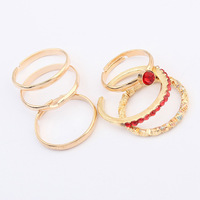 Free Shipping! Fashion Major suit Temperament Personality  Metal Gold Crystal Multilayer Ring(Six Pcs/Set) For Women C216