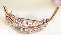 rhinestone brooch pin ,gold plating heart brooch pin ,crystal brooch mix colors  ,4.2*2.0cm  item LX-494