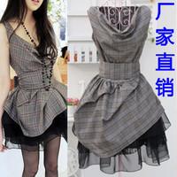 Women's fashion plaid 2014 organza chiffon lace one-piece dress