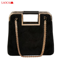 2013 leather hare fur cape chain handbag shoulder bag messenger bag handbag women's